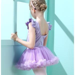 キッズダンス衣装 バレエレオタード 子供 ジュニア 袖なし ダンスワンピース 女の子 ダンスウェア ...
