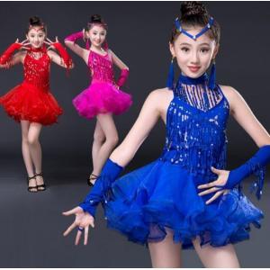 ラテン キッズダンス衣装 演出服 子供 ジュニア ダンスウェア スパンコール  ワンピース 可愛い フリンジ 社交ダンス ラテンドレス レッスン着 ステージ|spillhope0601