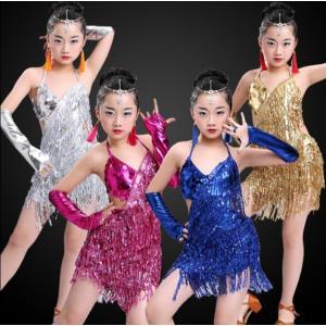 新作 演出服 ラテン キッズダンス衣装 子供 ジュニア ダンスウェア スパンコール フリンジ 可愛い ワンピース 社交ダンス ラテンドレス レッスン着 ステージ|spillhope0601