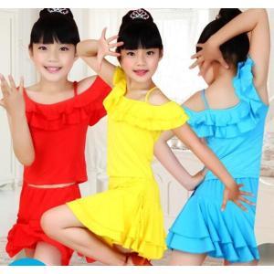ラテン ダンス衣装 キッズ ジュニア 社交ダンス ダンスウェア 子供用 トップス+スカート 女の子 練習服 イベント 舞台衣装 ノースリーブ 可愛い|spillhope0601