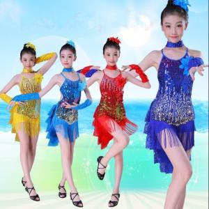 ラテン キッズダンス衣装 スパンコール ワンピース 子供 ジュニア フリンジ ダンスウェア 演出服 社交ダンス モダンドレス レッスン着 舞台 ステージ|spillhope0601
