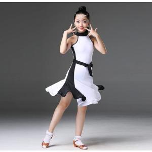 演出服 子供 ラテンドレス キッズダンス衣装 袖なし ワンピース ジュニア ダンスウェア 社交ダンス モダンドレス 競技着 レッスン着 舞台 ステージ|spillhope0601