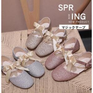 フォーマルシューズ ストラップ マジックテープ 子供靴 キッズシューズ リボン ジュニア 女の子 韓国 入学式  発表会|spillhope0601