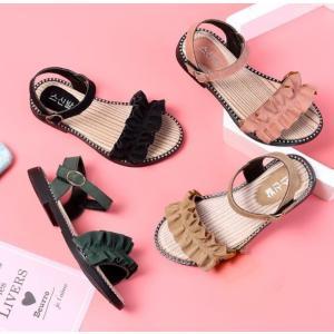 セール サンダル キッズシューズ マジックテープ ストラップ 子供靴 フォーマルシューズ 軽量 ジュニア 女の子 フリル|spillhope0601