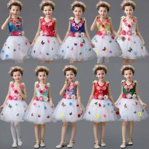 人気新作  キッズドレス  子供 ワンピース  花柄  お姫様ドレス 女の子  フォーマルドレス  チュールスカート  演出服  現代ダンスウェア  ステージ衣装|spillhope0601