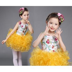 キッズドレス お姫様ドレス チュールスカート ノースリーブ 女の子 ワンピース 花柄 子供服 舞台 演出服 バレー ステージ衣装 現代ダンスウェア|spillhope0601