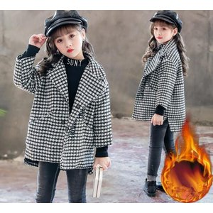 キッズ コート  チェスターコート ピーコート 子供服 女の子 チェック柄  アウター ジャケット 暖かい  ロング丈 防寒着|spillhope0601