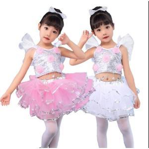 キッズダンス衣装 チアガール セットアップ ヒップホップ チュチュスカート ジャズダンス jazz ダンスウェア 体操服 応援団 練習|spillhope0601