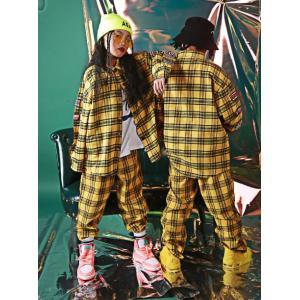 キッズ ダンス衣装 ヒップホップ チェック柄 シャツ  パンツ  長袖 ヒップホップ ジャズ セットアップ 練習着 演出服|spillhope0601
