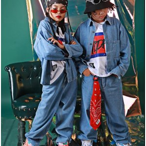 ダンス衣装 ヒップホップ キッズ ダンス衣装 HIPHOP ジャズダンス デニムシャツ デニムパンツ セットアップ ステージ衣装 練習着|spillhope0601