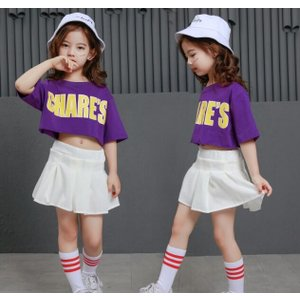 HIPHOP キッズ ダンス衣装 ヒップホップ チアガール セットアップ Tシャツ スカート ジャズダンス ダンスウェア ガールズ 練習着 spillhope0601