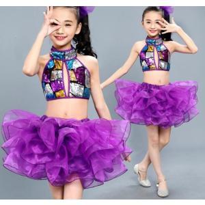 キッズ ダンス衣装 チアガール ジャズダンス ヒップホップ チュチュスカート セットアップ 女の子 ダンスウェア 体操服 応援団|spillhope0601