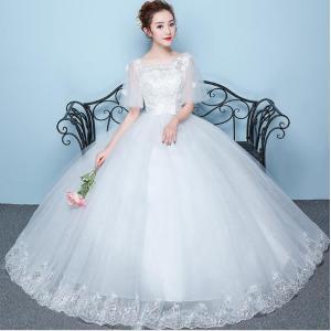 店長お勧め ウエディングドレス ロングドレス 結婚式 お花嫁 白 ホワイト パーティードレス 二次会 ドレス エンパイアライン 姫系ドレス spillhope0601