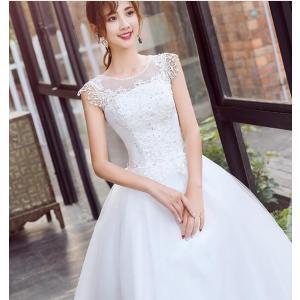 ウエディングドレス ロングドレス 結婚式 お花嫁 白 ホワイト パーティードレス 二次会 ドレス エ...