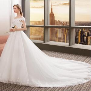 ウエディングドレス ロングドレス  トレーン付き 結婚式 お花嫁 白 ホワイト パーティードレス 二...