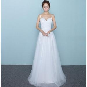 ドレス お花嫁 ウエディングドレス  キャミソール ロングドレス  結婚式 白 ホワイト パーティー 二次会 プライダル spillhope0601