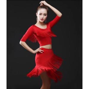 レディースダンス衣装  ラテンダンス衣装  社交ラテン  フリンジ  トップス  スカート  レッスンウェア  ダンスウェア  クラブ服  ステージ  舞台服|spillhope0601