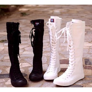 スニーカー レディース ハイカット ブーツ ヒップホップ ダンスブーツ 長靴 ダンスシューズ ロングブーツ キャンバス 黒 白 メンズ|spillhope0601