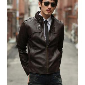 セール メンズ ライダースジャケット ブルゾン PU フェイクレザー メンズジャケット 革ジャン アウター ジャンパー レザージャケット|spillhope0601