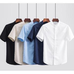 シャツ メンズ カジュアルシャツ 半袖 メンズ 立ち襟 シャツ ワイシャツ ビジネスシャツ 綿麻シャツ トップス 通勤 無地 麻 おしゃれ|spillhope0601