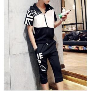 セットアップ メンズ ジャージセット 人気 スウェット 半袖 パーカ パンツ 上下セット フッド付き ルームウェア スポーツ パジャマ|spillhope0601
