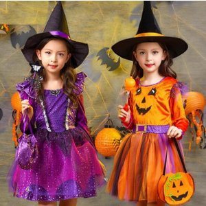 f1cae0b547e97 人気 ハロウィン衣装 キッズ コスチューム 仮装 女の子 ドレス 可愛い ワンピース 長袖 魔女 悪魔 ダンス衣装 魔法使い 子供 キャラクター衣装