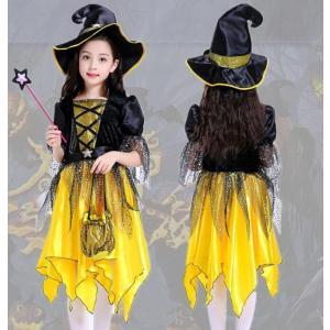 7641a77457d 新作 子供 ハロウィン衣装 キッズ コスチューム 仮装 女の子 ドレス 半袖 ワンピース 魔女 精霊 妖精 お姫様 ダンス衣装 魔法使い  キャラクター衣装