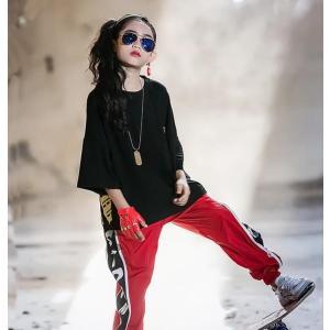 HIPHOP キッズ ダンス衣装 ヒップホップ ジャズ ダンス衣装 Tシャツ パンツ セットアップ 女の子 男の子 体操服 練習着 spillhope0601