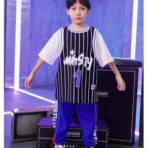 キッズ ダンス衣装 セットアップ ヒップホップ ダンス衣装 キッズ ジャズダンス ボーダー柄 Tシャツ パンツ ステージ 練習着 spillhope0601