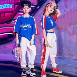 キッズ ダンス衣装 ヒップホップ HIPHOP セットアップ ダンストップス ダンスパンツ 子供 男の子 女の子 ガールズ チア ジャズダンス ステージ衣装 練習着|spillhope0601