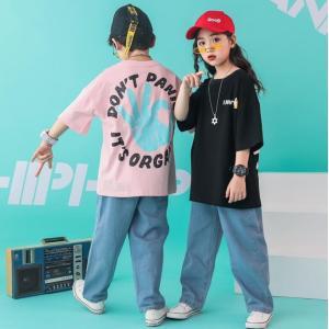 キッズ ダンス衣装 ヒップホップ HIPHOP セットアップ 子供 男の子 女の子 ジーンズ ダンストップス デニムパンツ ジャズダンス ステージ衣装 JAZZ 練習着|spillhope0601