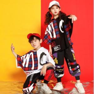 キッズ ダンス衣装 ヒップホップ HIPHOP セットアップ  Tシャツ 男の子 女の子  ダンストップス パンツ ジャズダンス ステージ 練習着|spillhope0601