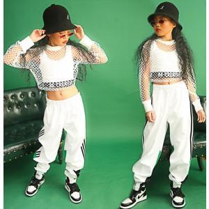 キッズ ダンス衣装 ヒップホップ HIPHOP セットアップ  メッシュトップス 男の子 女の子  ダンスパンツ ジャズダンス ステージ 練習着|spillhope0601