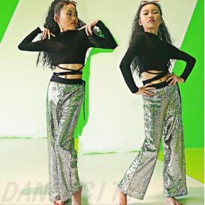 キッズ ダンス衣装 ヒップホップ HIPHOP スパンコール  ダンストップス  女の子  ダンスパンツ ジャズダンス ステージ 練習着|spillhope0601