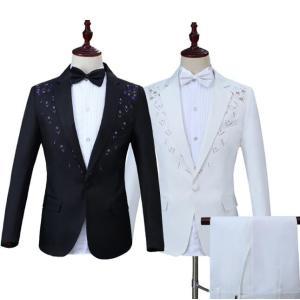 フォーマルスーツ  メンズ  セットアップ  演出服  ダンス衣装  キラキラ  上下セット  タキシード  カラオケジャケット ステージ衣装  パーティー  結婚式|spillhope0601