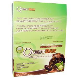 クエストバー プロテインバー ミントチョコレートチャンクフレバー (60 g×12本)  Quest Nutrition社|spl