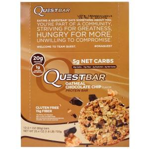 クエストバー プロテインバー オートミールチョコレートチップ、12本、各2.1 oz(60 g)Quest Nutrition社|spl