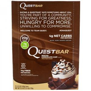 クエストバー プロテインバー モカチョコレートチップ 12本 (1本60g) Quest Nutrition社|spl