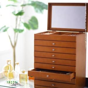 ジュエリーボックス アクセサリーケース 大容量 木製 たっぷり入るジュエリーボックス〔モルティ〕8段 ジュエリーケース 小物入れ 引出し 鏡付き ミラー 指輪|spl