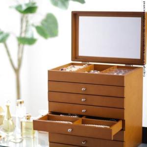 ジュエリーボックス アクセサリーケース 大容量 木製 たっぷり入るジュエリーボックス 〔モルティ〕 6段 ジュエリーケース 小物入れ 引出し 鏡付き ミラー 指輪|spl