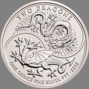 イギリス ドラゴン2匹 2018年 ダブルドラゴン 1oz .999 趣味 コレクション コレクター コインケース入り