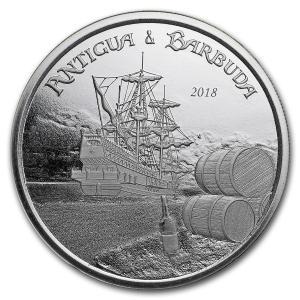アンティグアバーブーダ ラム酒 船 EC8 .999 1oz シルバーコイン コインケース入り スコッツデールミント