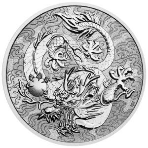 未流通品 2021年 オーストラリア 中国神話と伝説 龍 ドラゴン 銀貨 純銀 .9999 シルバー...