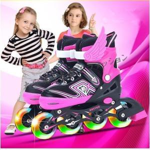 赤字セール在庫一掃インラインスケート子供ジュニア用ローラーブレードローラーシューズセット付属ウィールが光るLED靴光るキッズ子ども