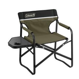 カップホルダーホールのついたサイドテーブルが便利なデッキチェア・使用時サイズ:約87x52x77(h...