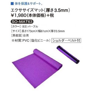 エクササイズマット厚さ3.5mm ショルダーベルト付き softouch SO-MAT63 ヨガマット ソフタッチ|sportsguide