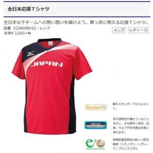 全日本応援Tシャツ 半袖 ミズノバレーボール 展示会限定商品 真っ赤に燃える応援Tシャツ V2JA6080|sportsguide