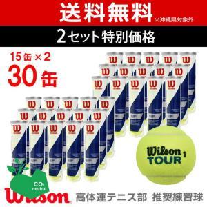 「代引き不可」「2箱セット」Wilson ウイルソン 「TOUR STANDARD ツアー・スタンダード   15缶×2=120球  WRT103800」テニスボール|sportsjapan