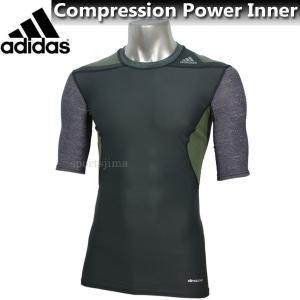 【半額以下】 メンズ コンプレッションインナー adidas アディダス コンプレッション インナー 半袖 AJ432 S19487 ダークグレー|sportsjima