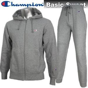 2017 スウェット 上下 メンズ Champion チャンピオン BASIC スウェット ジャケット パンツ 上下 C3C119 C3K207 070 グレー|sportsjima